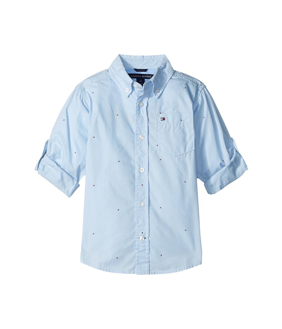 Tommy Hilfiger Kids - Micro Flags Printed Poplin Woven Shirt (Big Kids) (Cashmere Blue) Boy's Long Sleeve Button Up