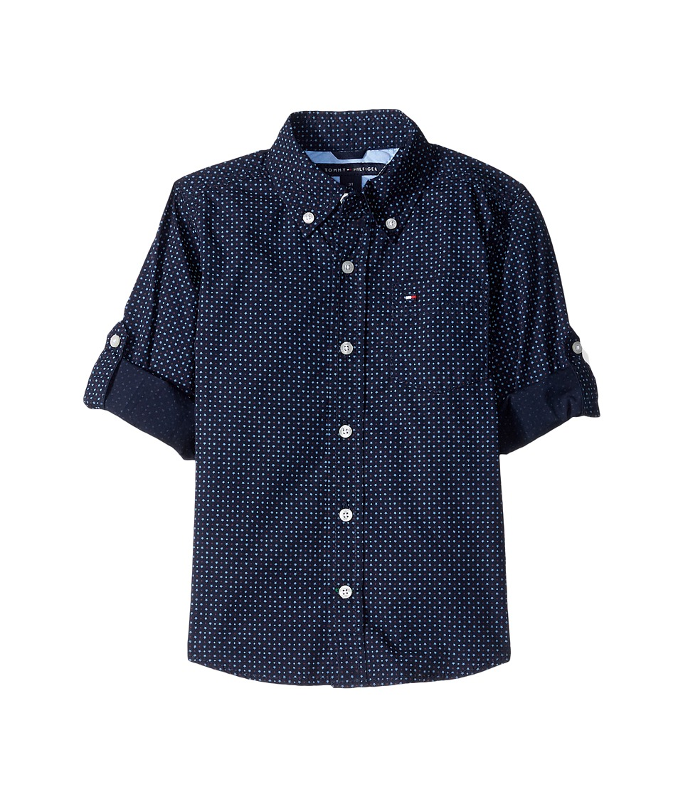 Tommy Hilfiger Kids - Mini Stars and Dots Printed Shirt (Toddler/Little Kids) (Swim Navy) Boy's Clothing