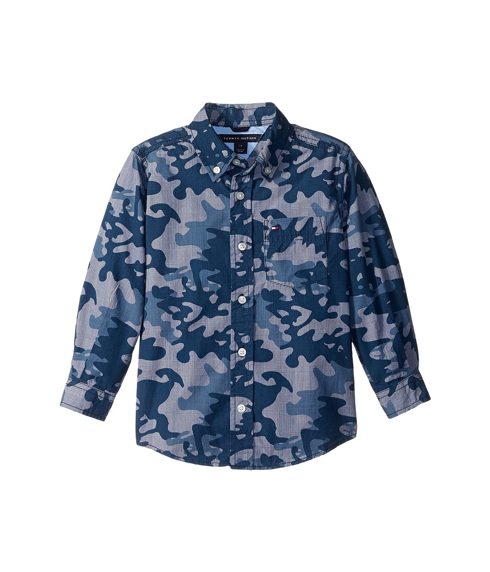 Tommy Hilfiger Kids - Glen Camo Printed Shirt (Toddler/Little Kids) (Flag Blue) Boy's Clothing