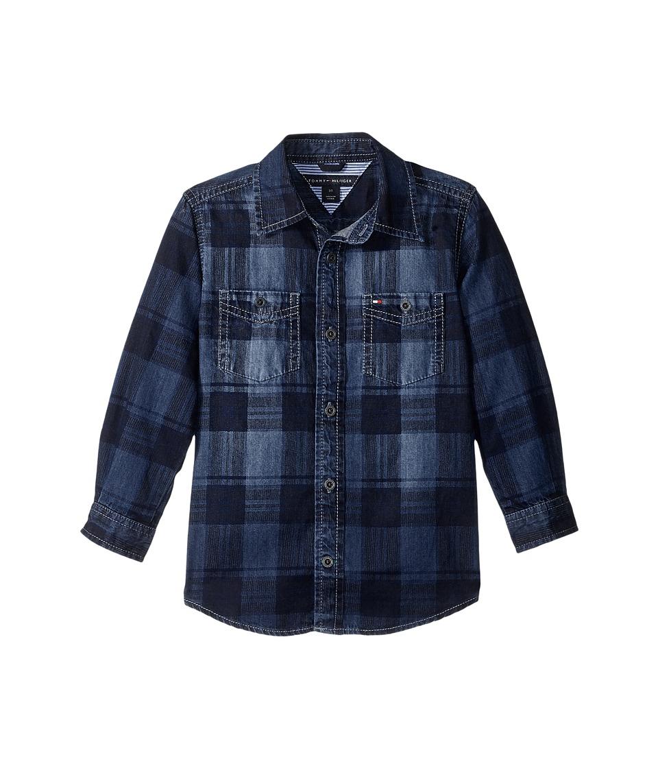 Tommy Hilfiger Kids - Maxwell Printed Denim Shirt (Big Kids) (Flag Blue) Boy's Clothing