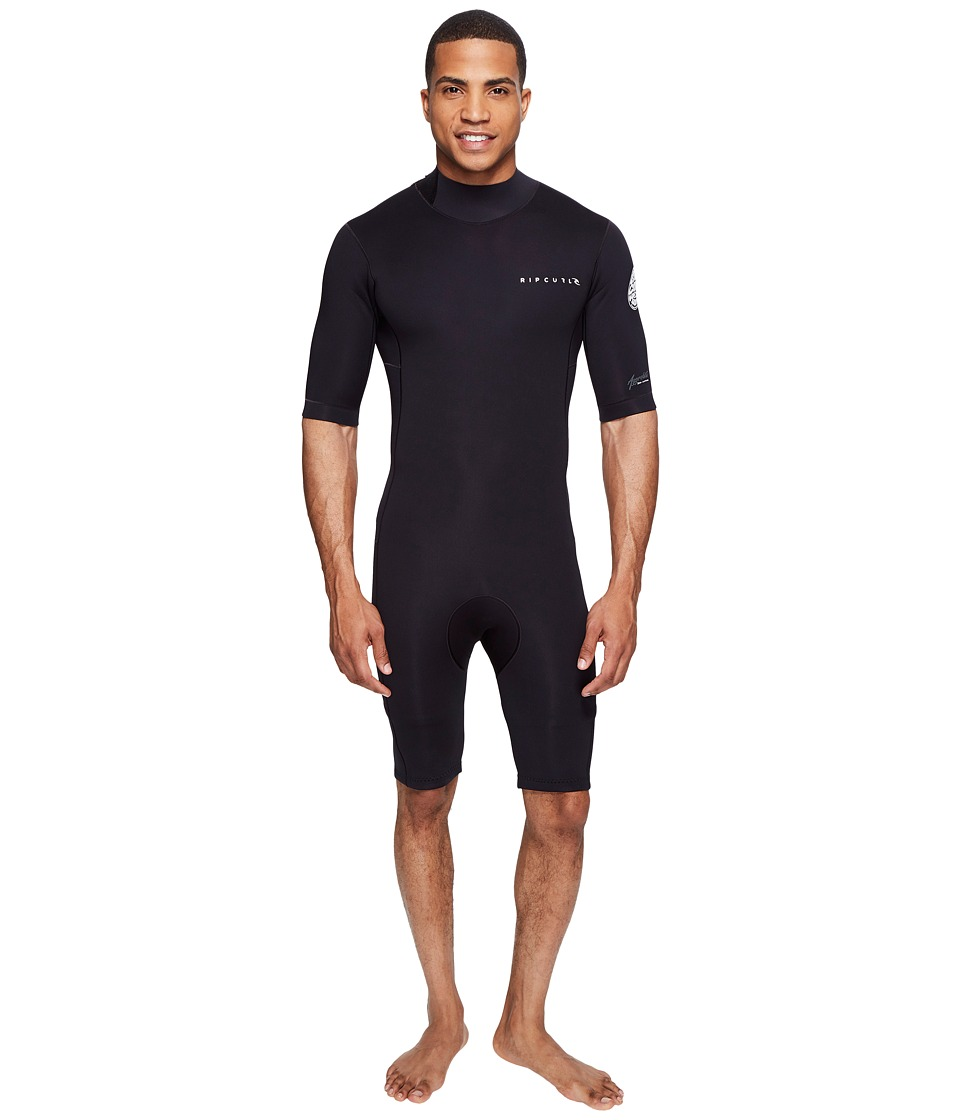 Rip Curl - Aggrolite 2mm B/Zip Spring Suit (Black) Men's Wetsuits One Piece