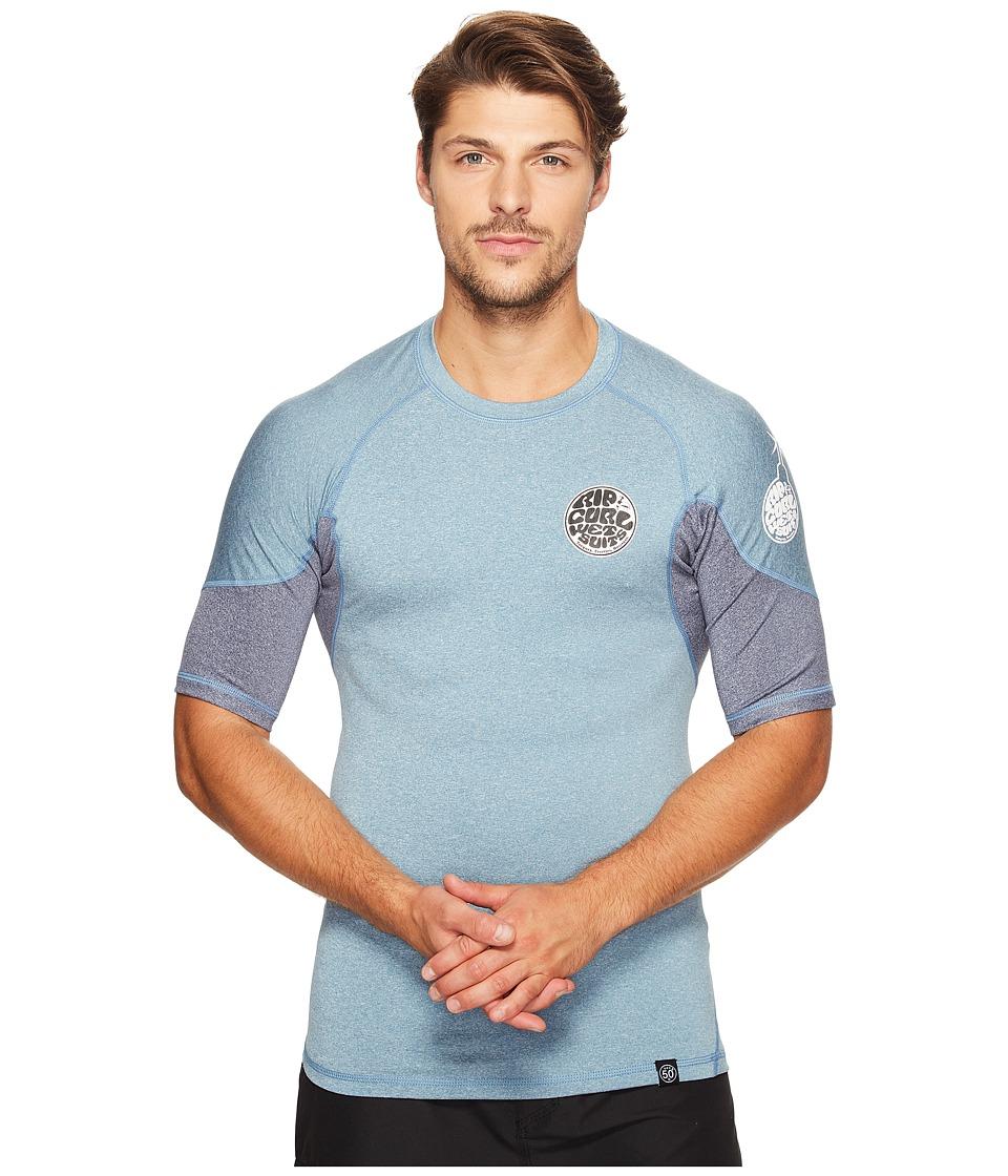 Rip Curl E Bomb Surf Rashguard Short Sleeve (Blue) Men