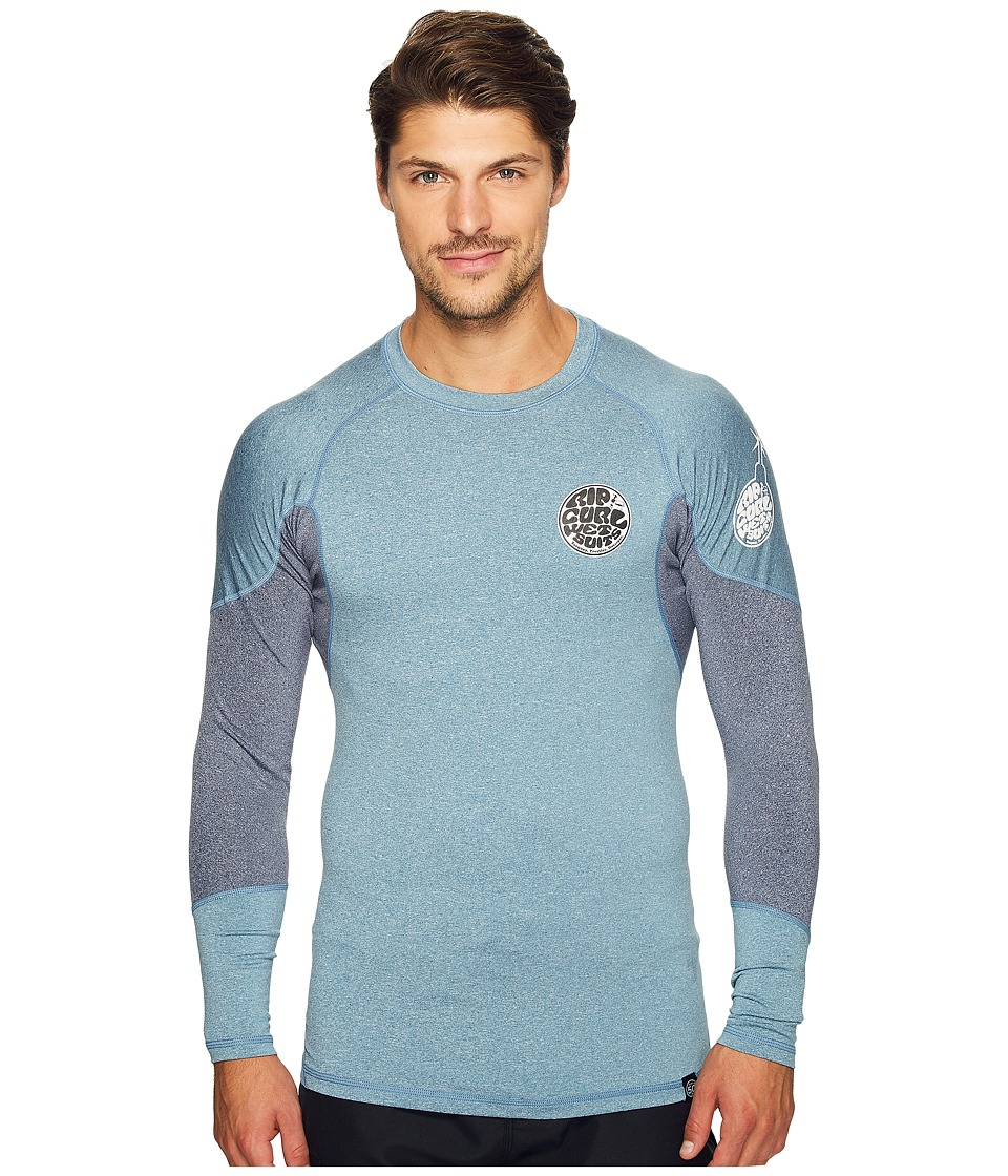 Rip Curl - E Bomb Surf Rashguard Long Sleeve (Blue) Men's Swimwear