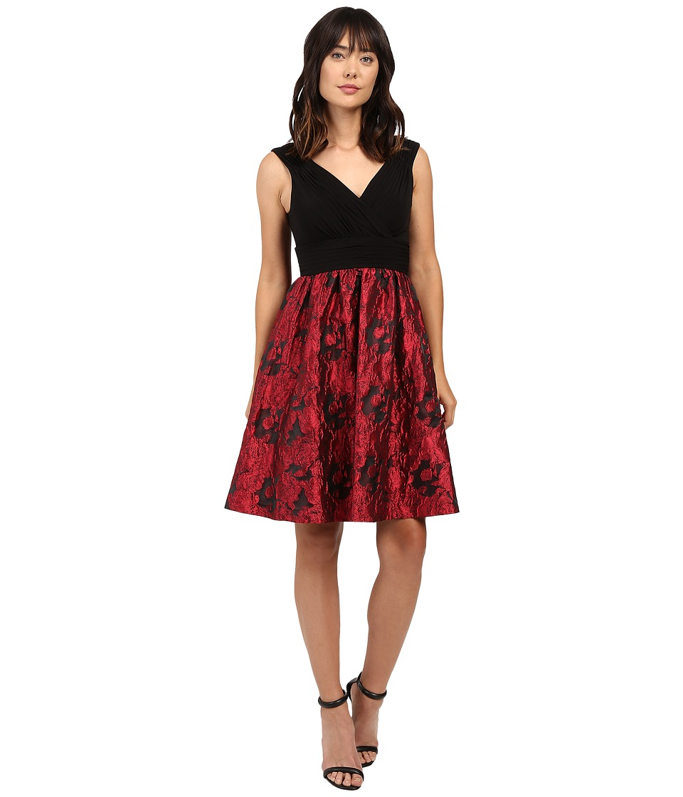 Adrianna Papell Portrait Bodice Fit and Flare Red-Black Dress