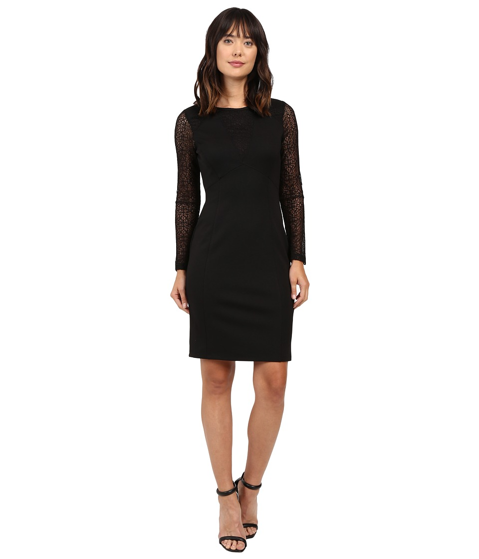 Adrianna Papell - Long Sleeve Lace Detail Fit Dress (Black) Women's Dress