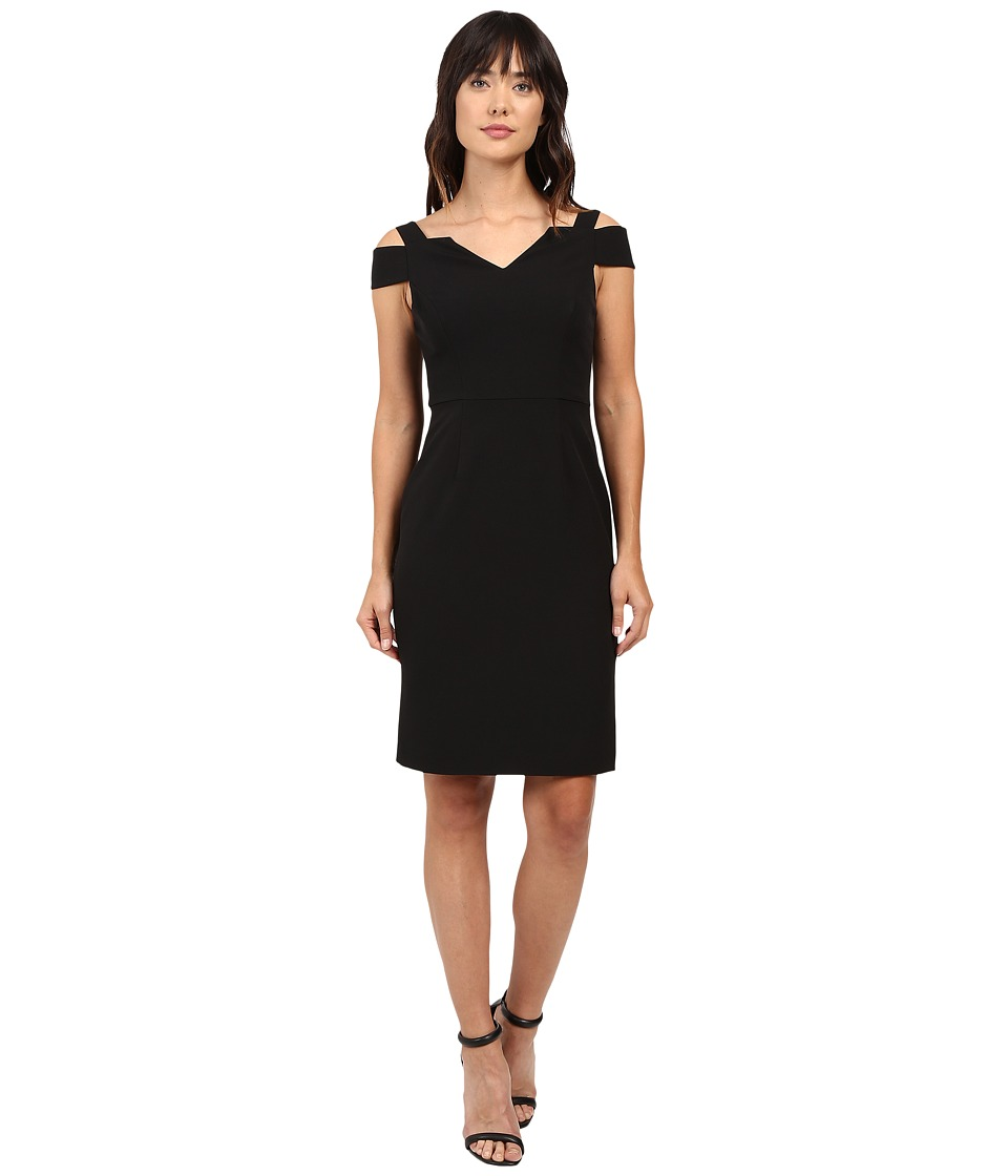 Adrianna Papell - Cold Shoulder Fitted Sheath (Black) Women's Dress