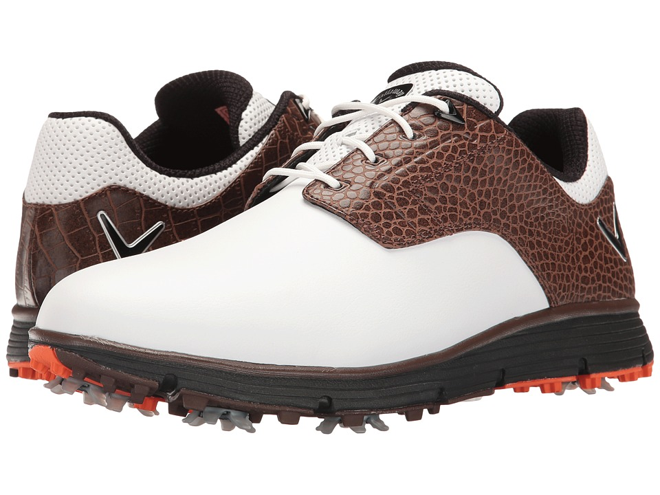 Callaway - La Jolla (White/Brown) Men's Golf Shoes