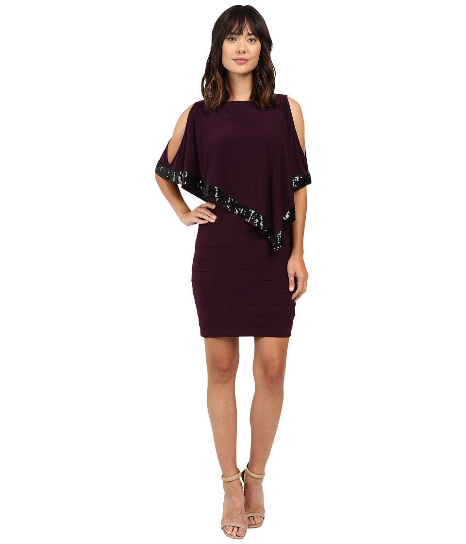 Adrianna Papell - Band Dress w/ Capelet and Banding (Plum/Wine) Women's Dress