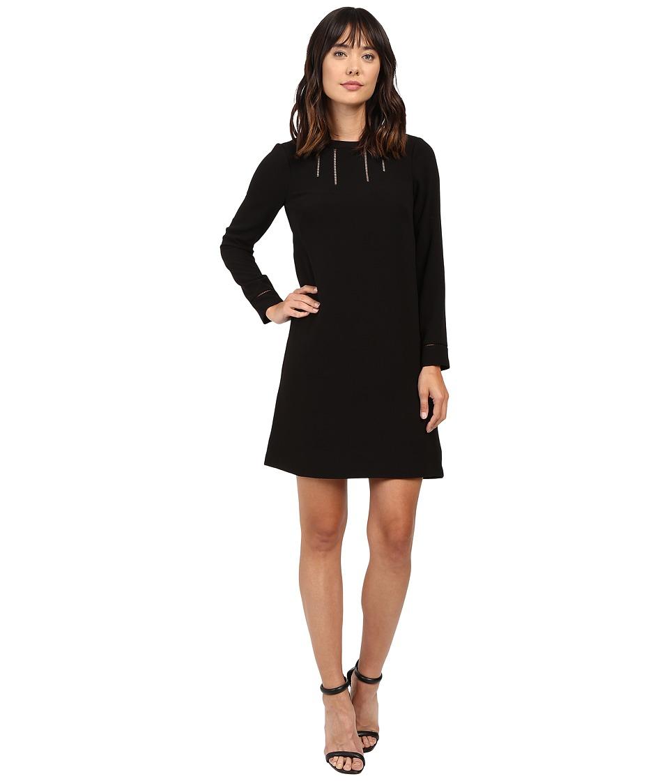 Adrianna Papell Faggoting Trim Detail Shift Dress (Black) Women