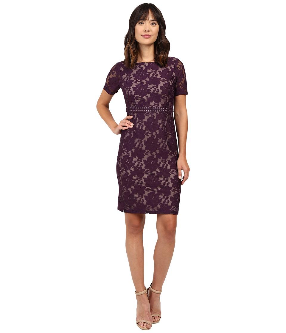 Adrianna Papell - Short Sleeve Lace Sheath Dress (Plum/Wine/Tan) Women's Dress