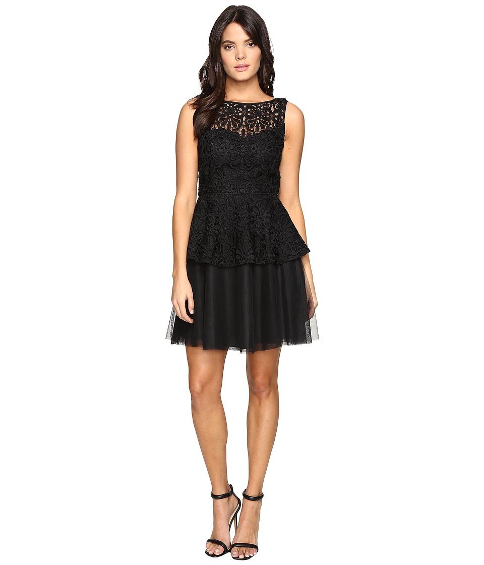 Adrianna Papell Lace Peplum Dress w/ Full Netted Skirt (Black) Women