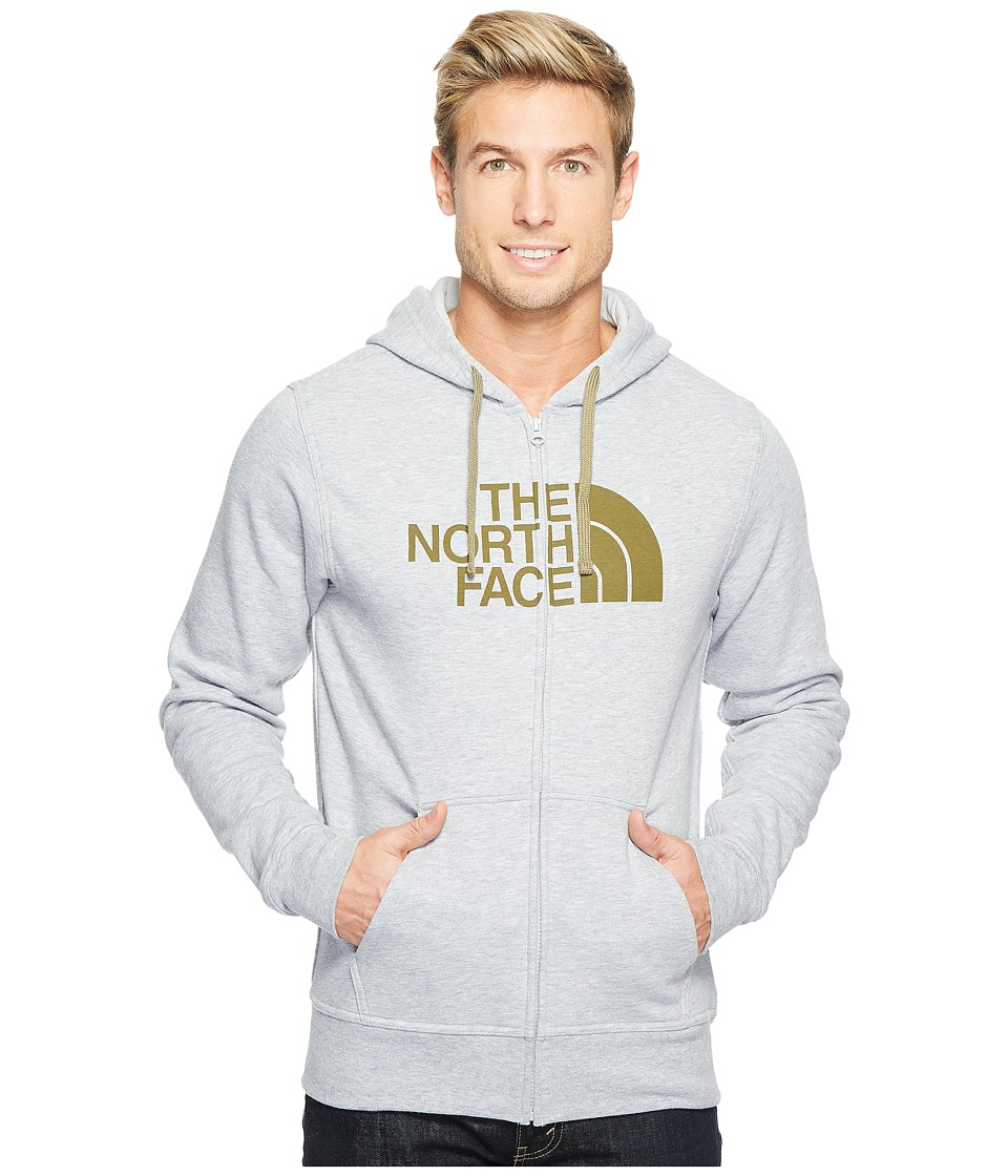 The North Face - Half Dome Full Zip Hoodie (TNF Light Grey Heather/Burnt Olive Green (Prior Season)) Men's Sweatshirt