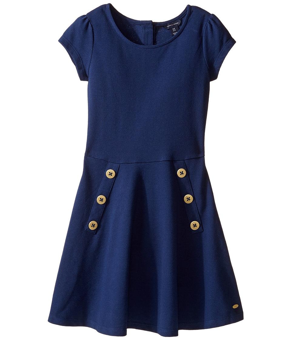 Tommy Hilfiger Kids - Solid Short Sleeve Pique Dress (Big Kids) (Flag Blue) Girl's Dress