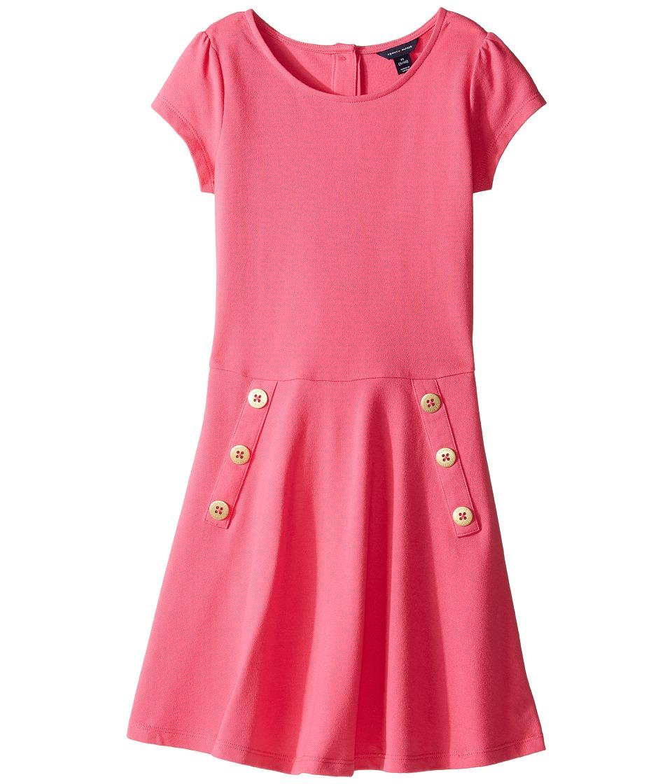 Tommy Hilfiger Kids - Solid Short Sleeve Pique Dress (Big Kids) (Fandango Pink) Girl's Dress