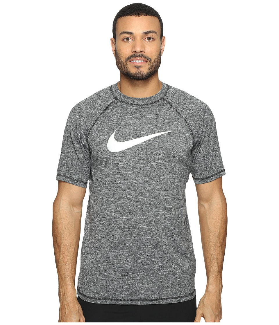 Nike - Solid Heather Short Sleeve Hydro Top (Black) Men's Swimwear