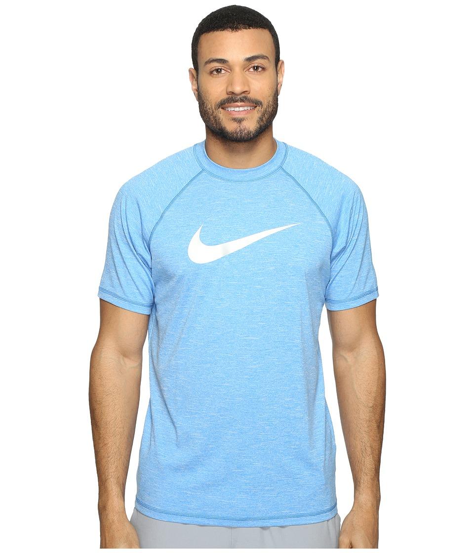 Nike - Solid Heather Short Sleeve Hydro Top (Light Photo Blue) Men's Swimwear