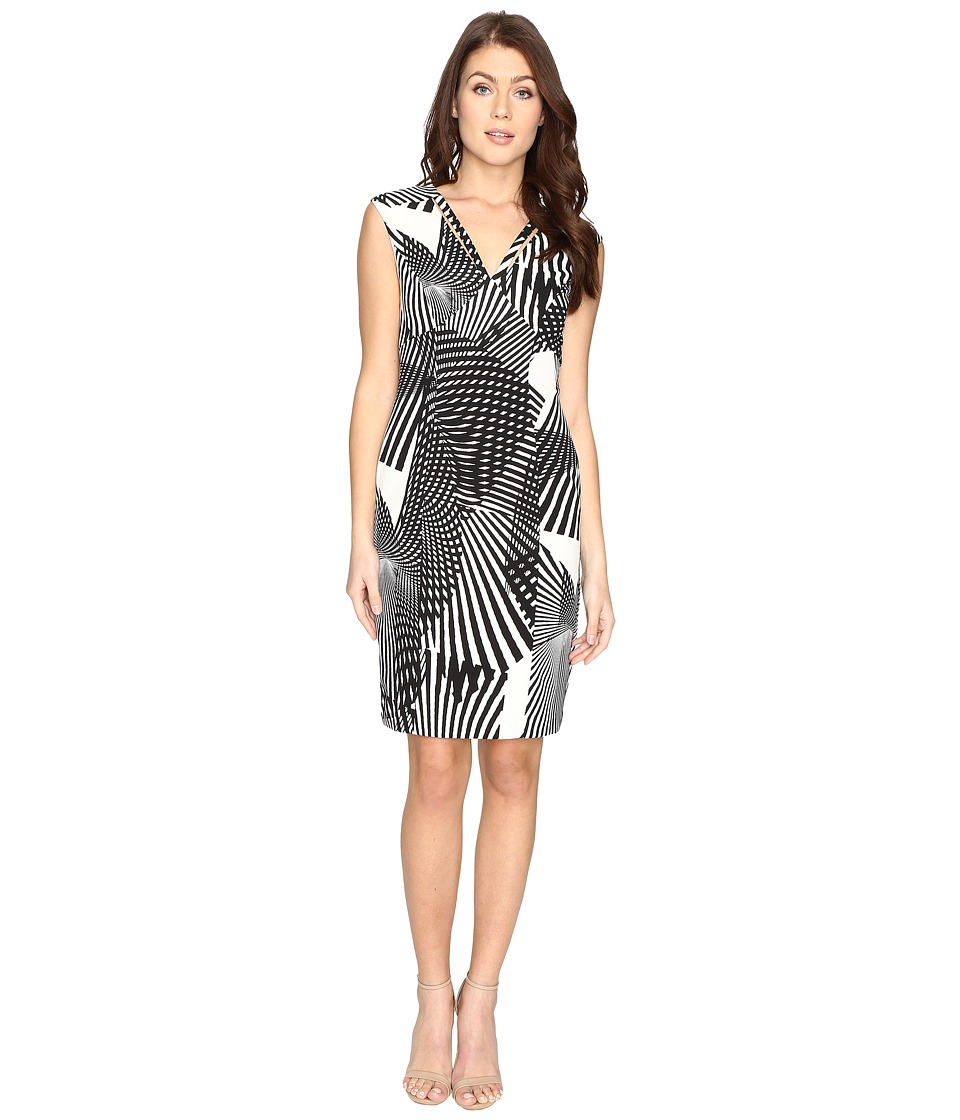 Adrianna Papell - V-Neck Cut Out Sheath Dress (Black/Ivory) Women's Dress