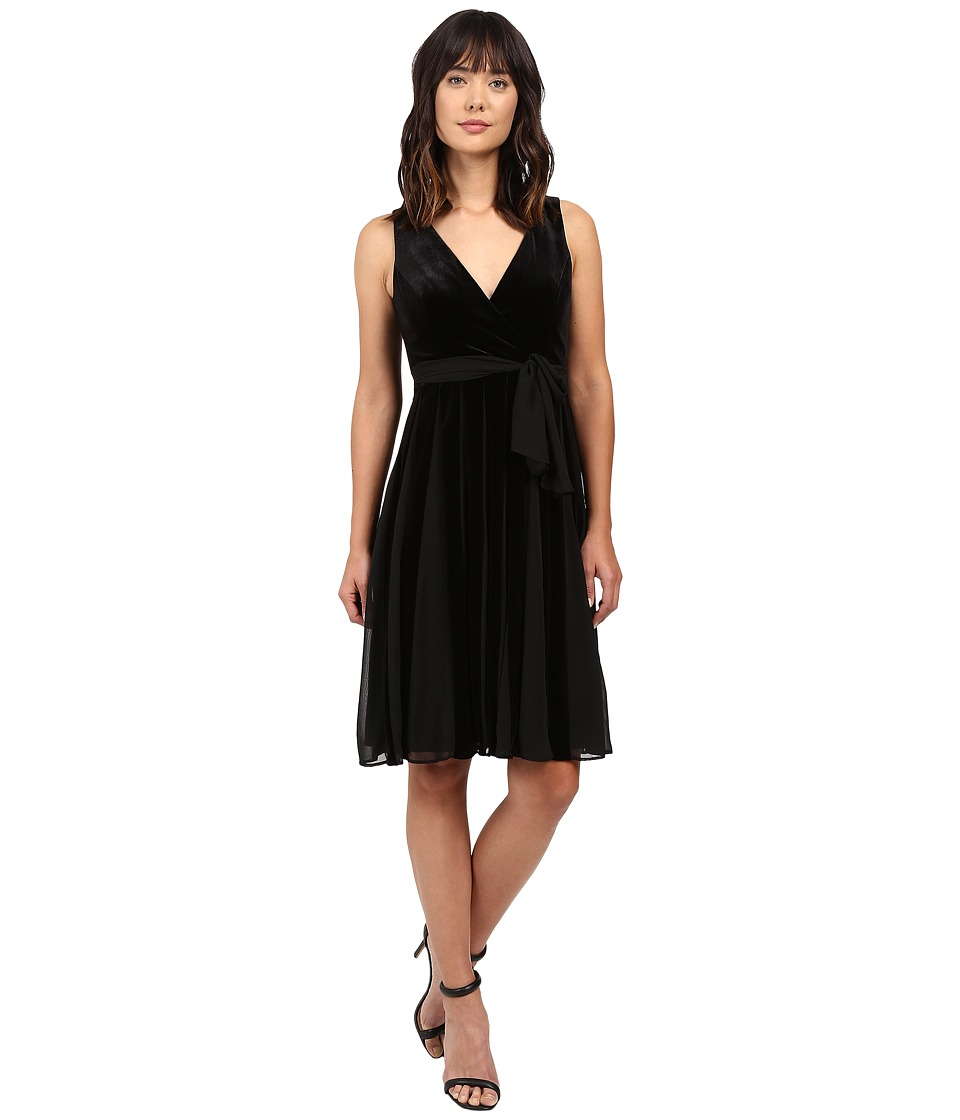 Adrianna Papell - Surplus Midi Velvet Spliced Carwash Dress (Black) Women's Dress