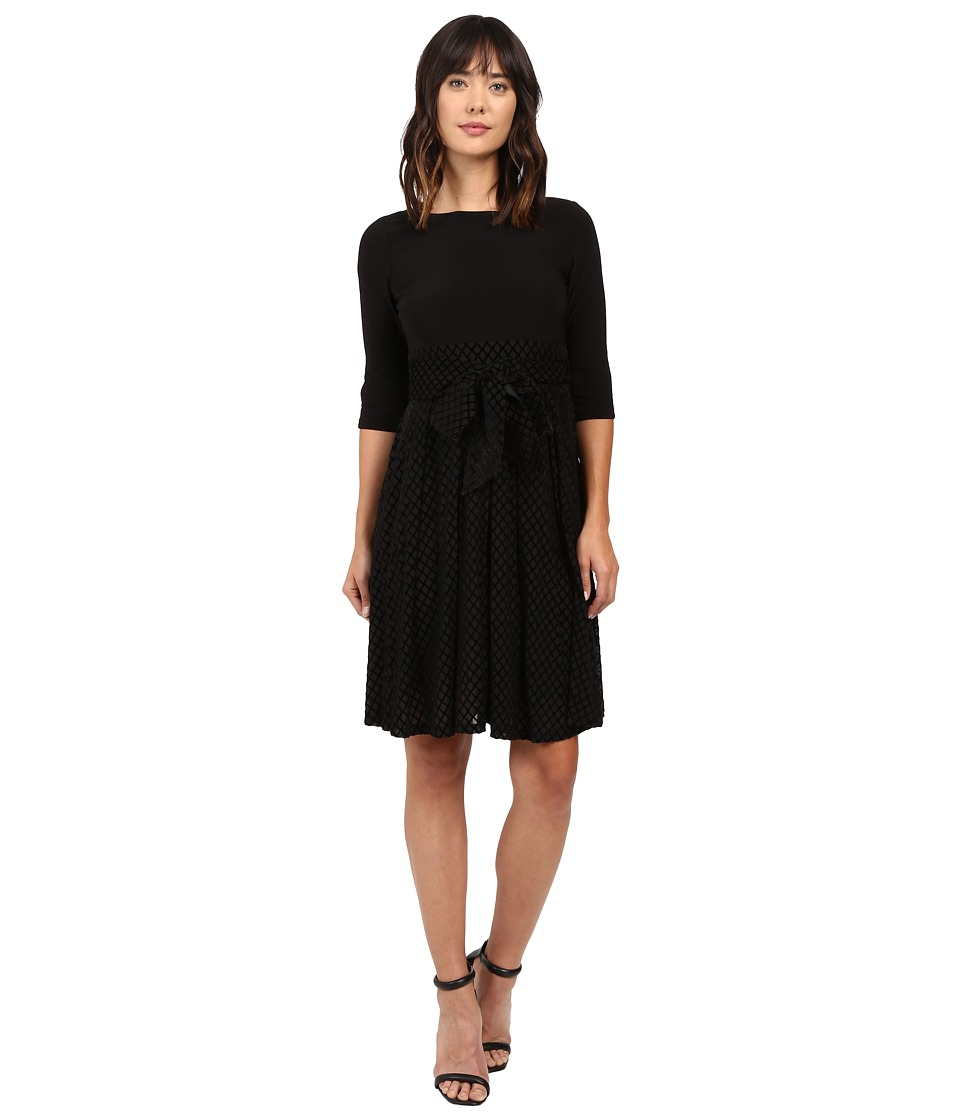 Adrianna Papell - Velvet Burnout Party Dress Fit and Flare (Black) Women's Dress
