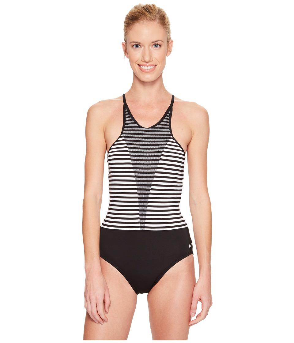 Nike - Laser High Neck Tank Top (Black) Women's Swimwear
