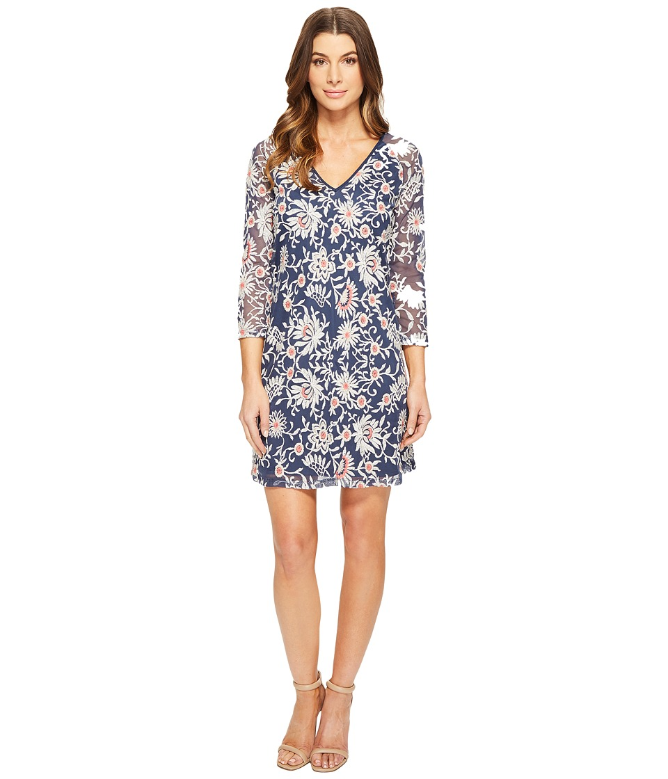 Adrianna Papell Marrakesh Embroidery Trapeze Navy-Taupe Dress