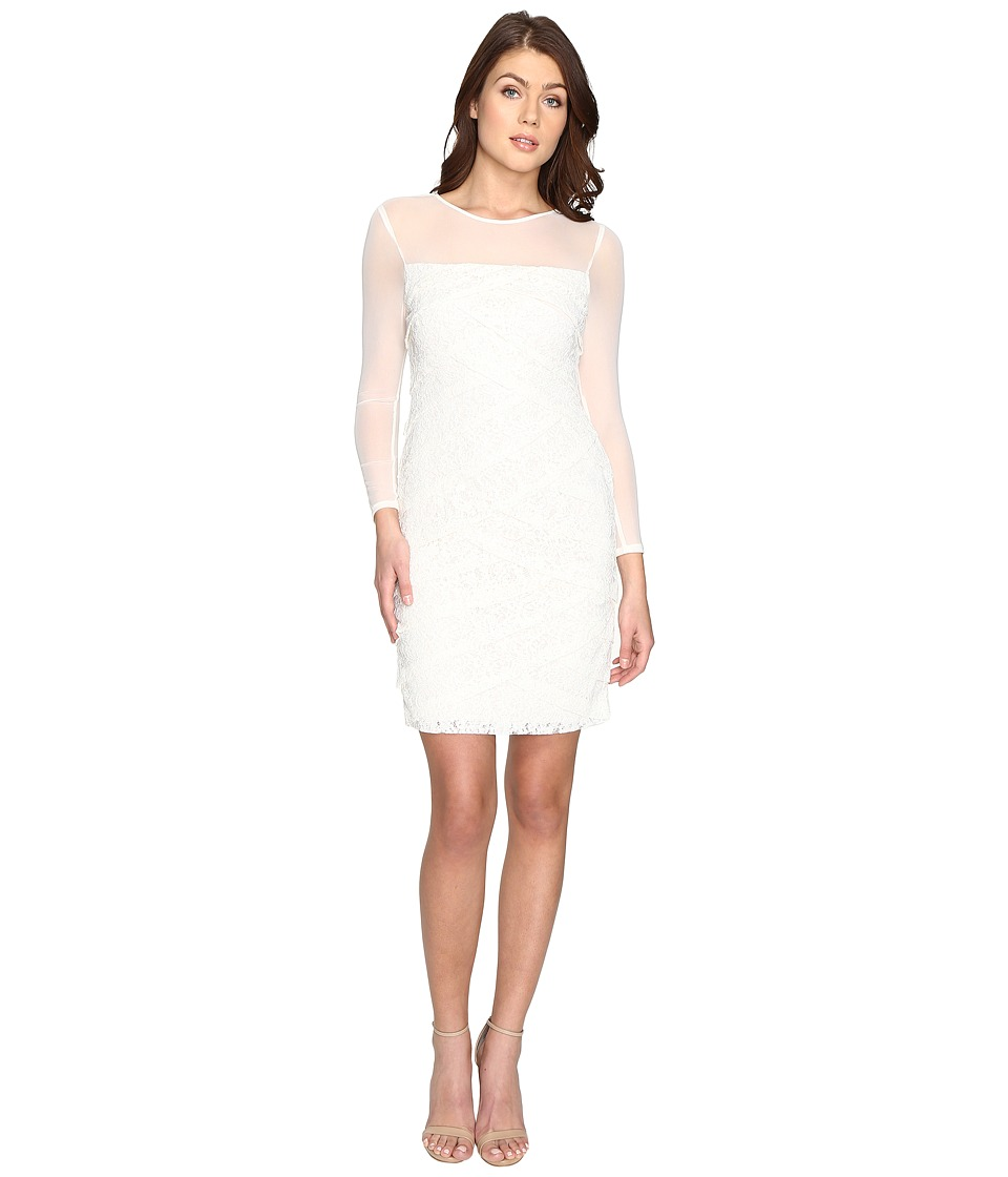 Adrianna Papell - Shutter Tuck Lace Sheath Dress (Ivory/Almond) Women's Dress