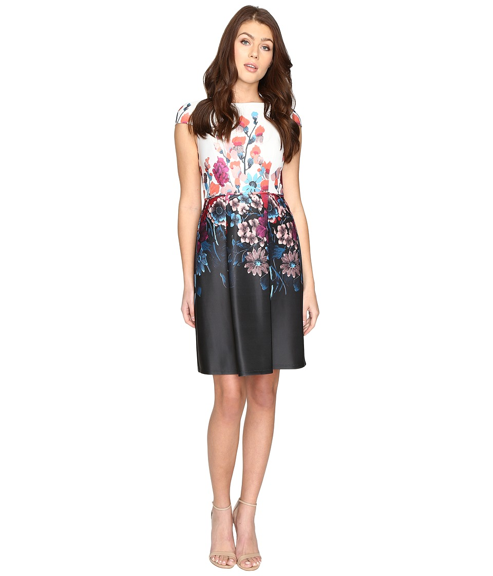 Adrianna Papell - Printed Scuba Fit and Flare (Black Multi) Women's Dress