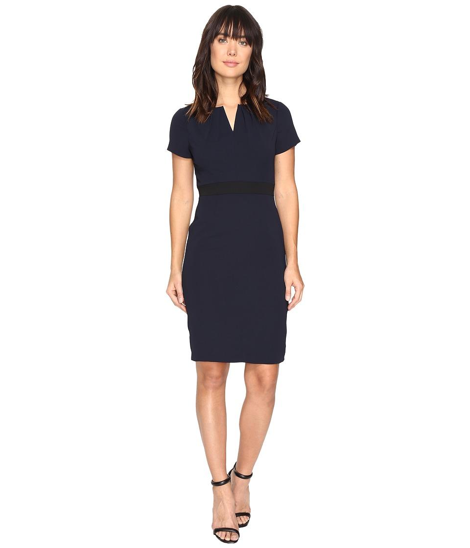 Adrianna Papell - Keyhole Power Stretch Sheath (Navy/Black) Women's Dress