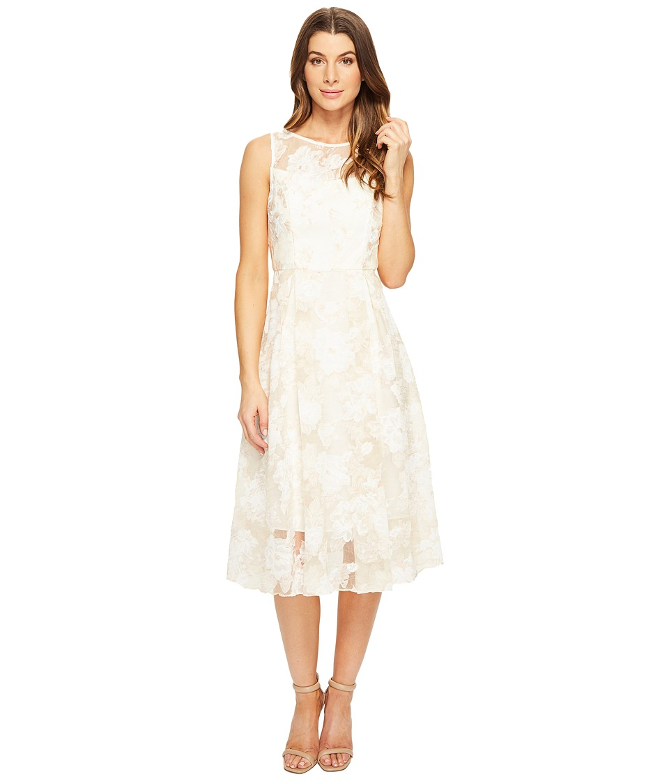 Adrianna Papell - Printed Organza Fit and Flare Midi (Peach/Ivory) Women's Dress