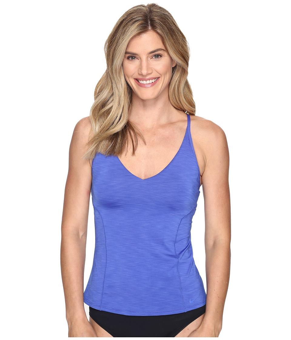 Nike Iconic Heather V-Back Tankini Top (Medium Blue) Women