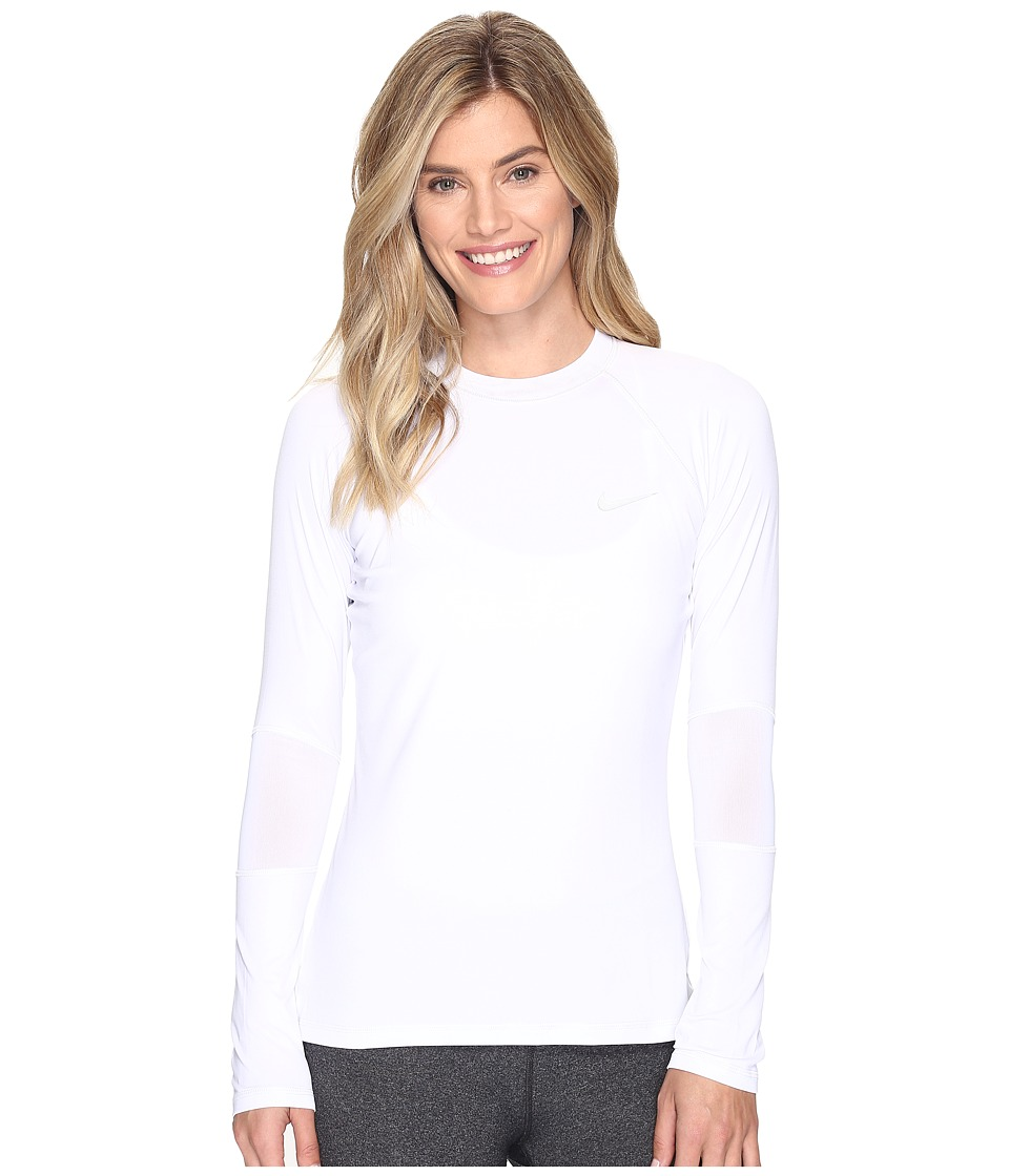 Nike - Long Sleeve Hydro Top Cover-Up (White) Women's Swimwear