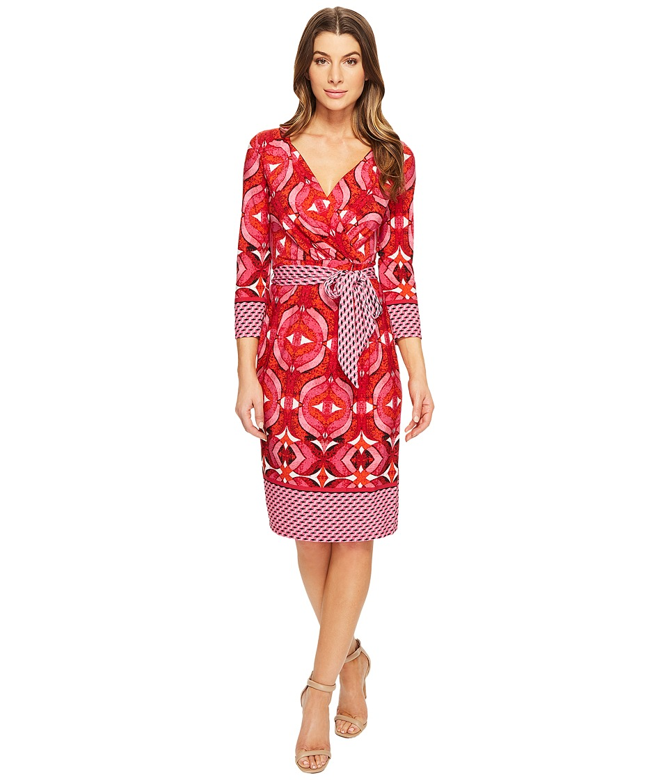 Adrianna Papell - 3/4 Sleeve V-Neck Wrap Dress (Pink Multi) Women's Dress