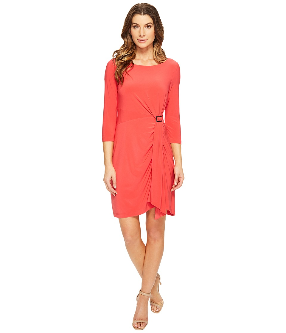 Adrianna Papell - Matte Jersey Draped Skirt (Hot Coral) Women's Dress