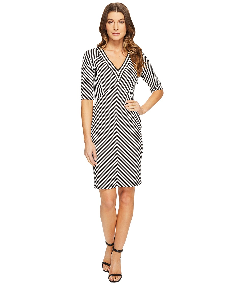 Adrianna Papell - Elbow Sleeve Stripe Ottoman Fit Dress (Black/White) Women's Dress