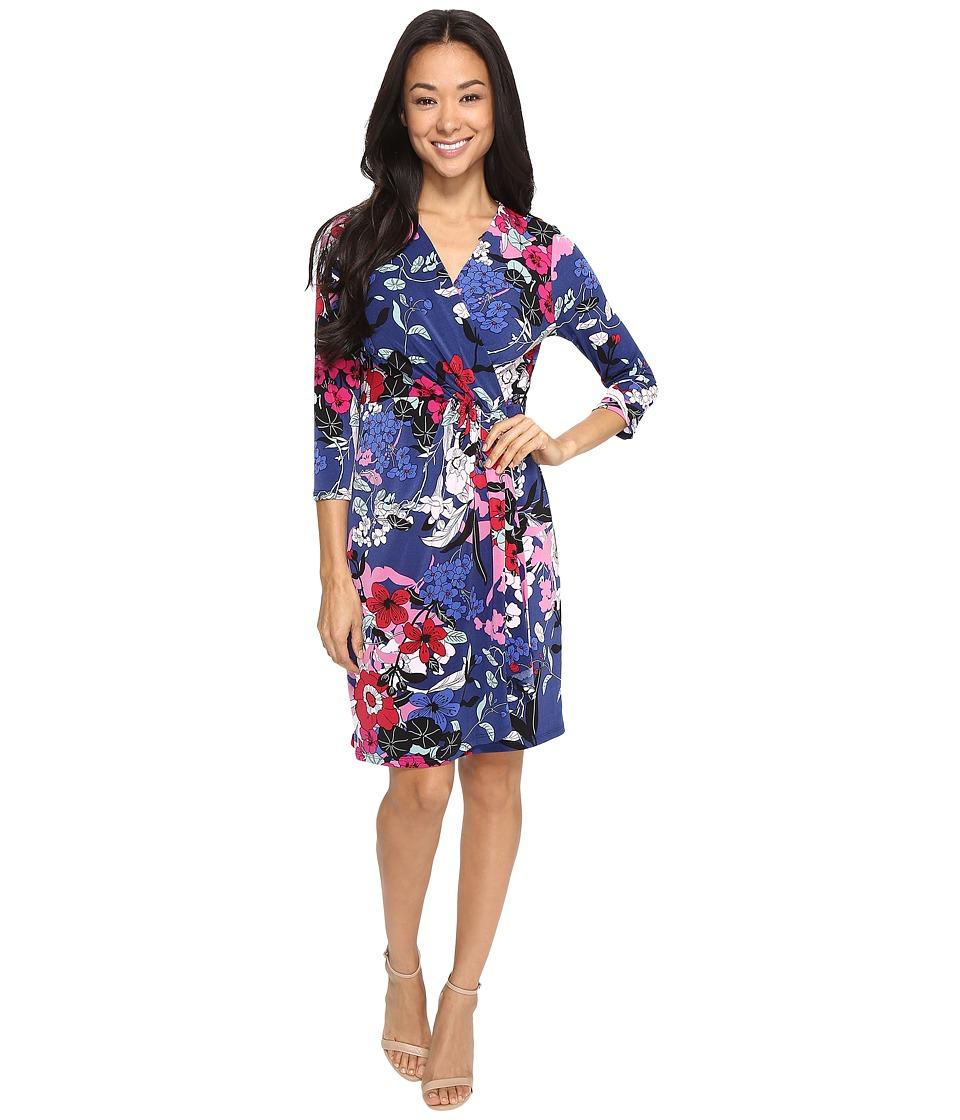Adrianna Papell 3/4 Sleeve V-Neck Wrap Dress (Blue Multi) Women
