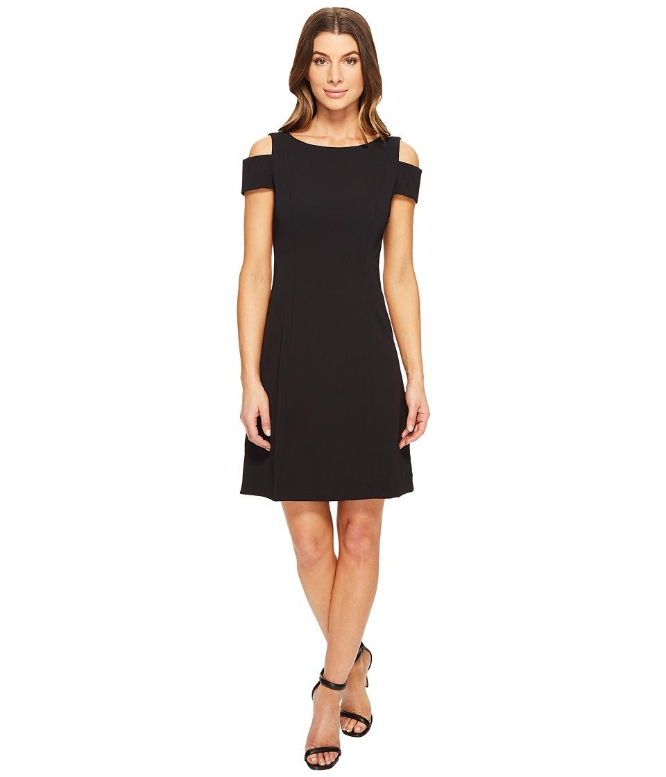 Adrianna Papell - Power Stretch Cold Shoulder A-Line Dress (Black) Women's Dress