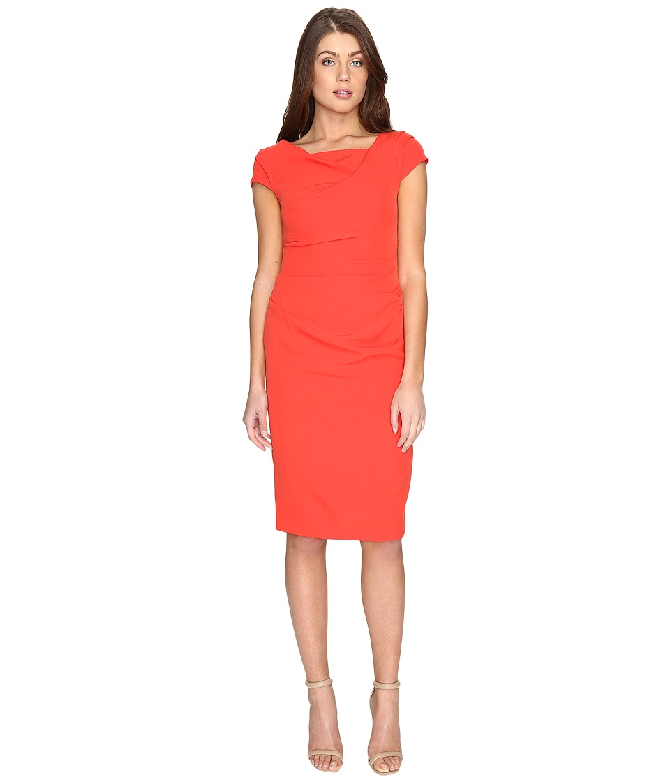 Adrianna Papell Cowl Side Rusched Sheath Dress (Bright Cayenne) Women