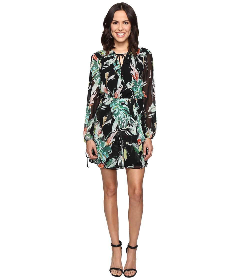 Adelyn Rae - Printed Long Sleeve Dress (Black Multi) Women's Dress