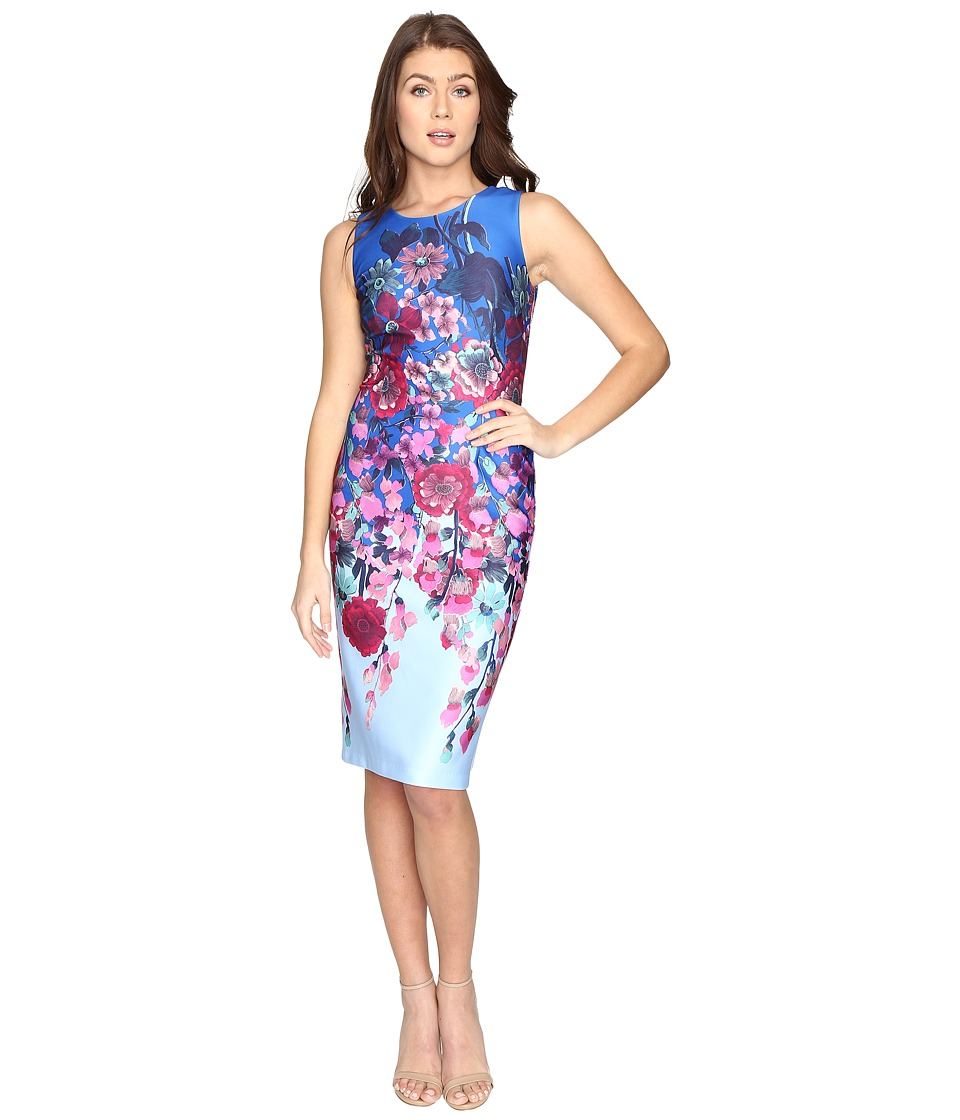 Adrianna Papell - Printed Scuba Midi Sheath (Blue Multi) Women's Dress