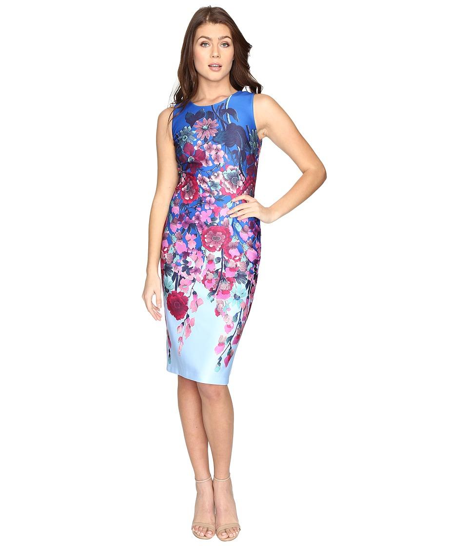 Adrianna Papell - Printed Scuba Midi Sheath (Blue Multi) Women's Dress