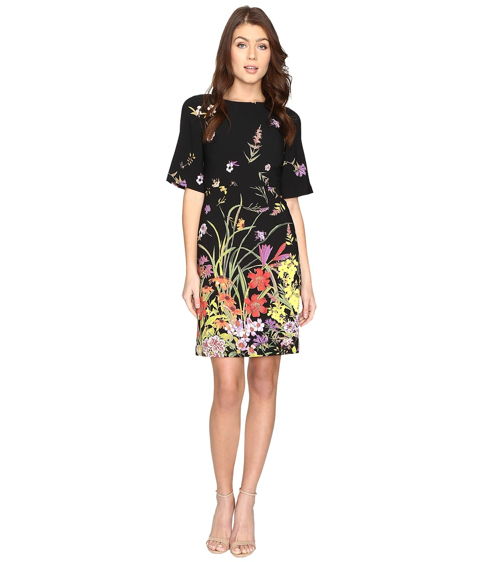 Adrianna Papell - Border Print A-Line Crepe (Black Multi) Women's Dress