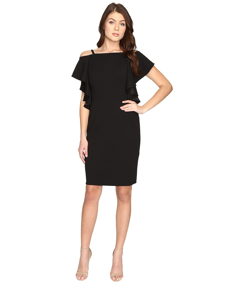 Adrianna Papell - Knit Crepe Fluttr Cold Shoulder Sheath (Black) Women's Dress