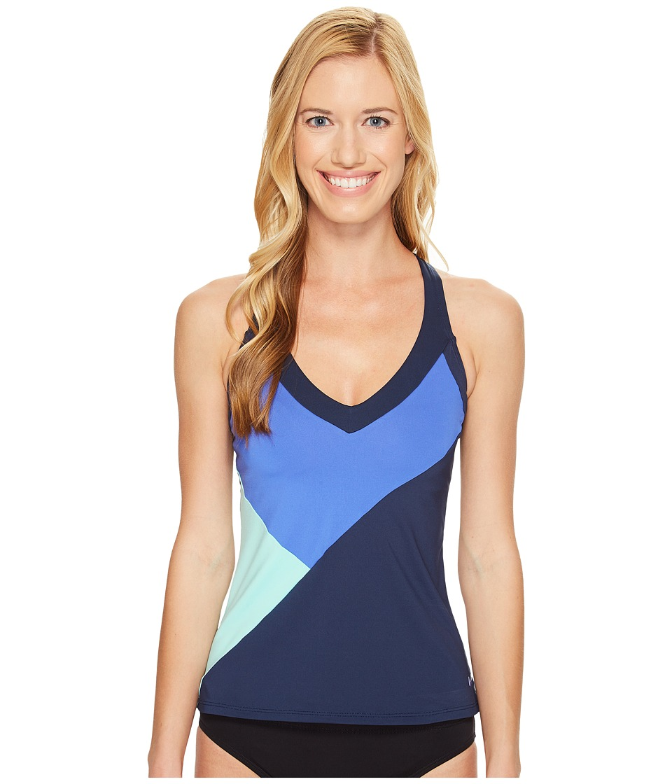 Nike - Color Surge V-Back Tankini Top (Medium Blue) Women's Swimwear