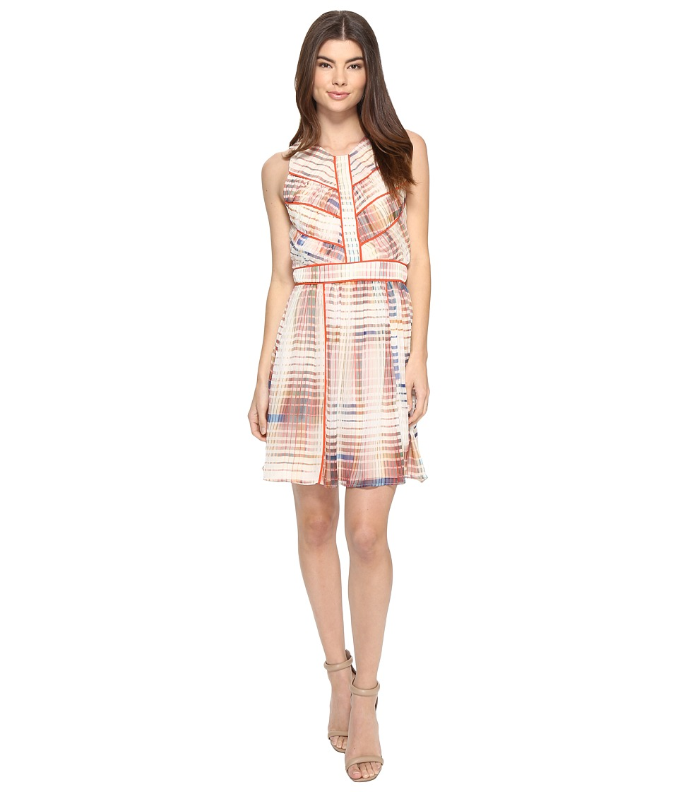 Adelyn Rae - Printed Fit and Flare Dress (Ivory/Light Pink) Women's Dress