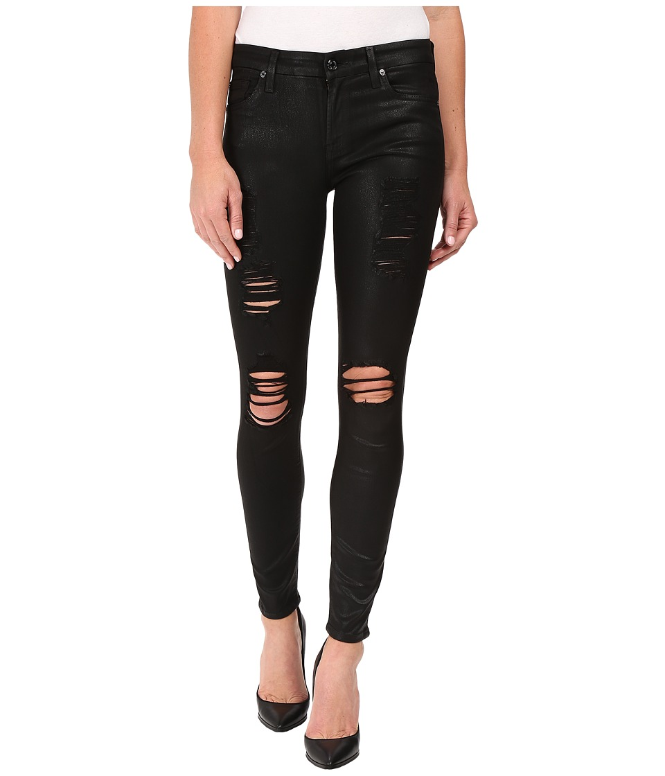 7 For All Mankind - The Ankle Skinny w/ Destroy in Coated Fashion 2 (Coated Fashion 2) Women's Jeans