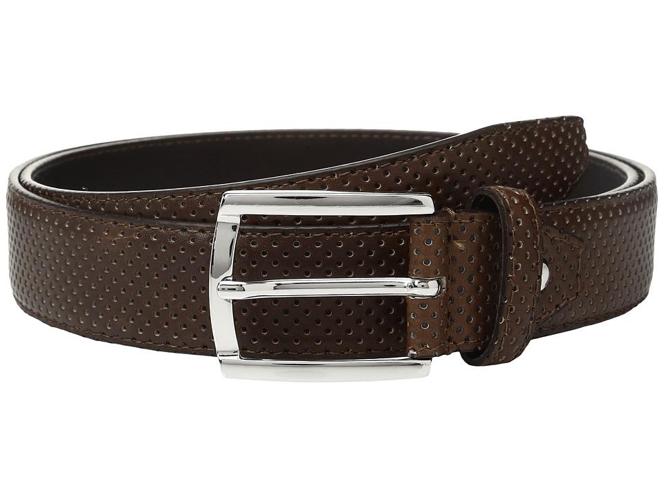 BUGATCHI - Nero Perforated Belt (Marrone) Men's Belts