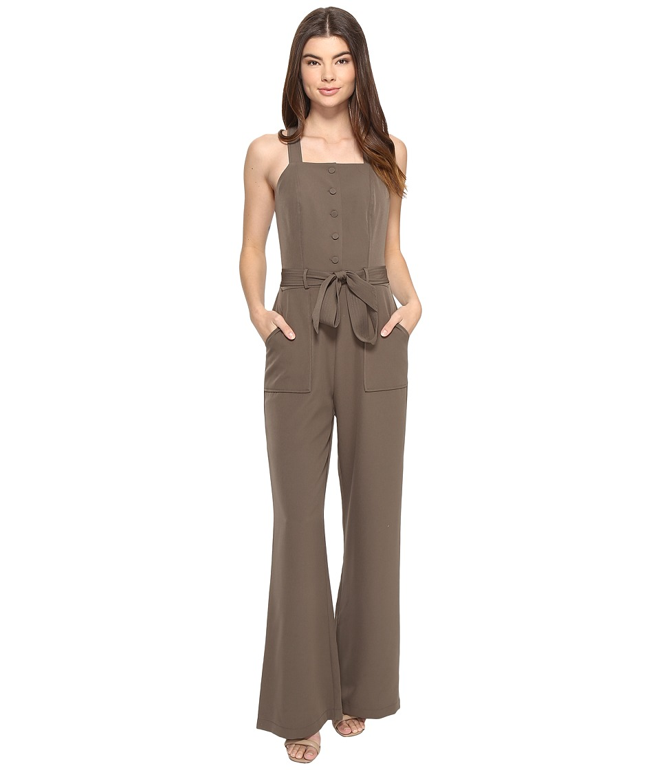 Adelyn Rae - Sleeveless Jumpsuit Tie Waist (Olive) Women's Jumpsuit & Rompers One Piece