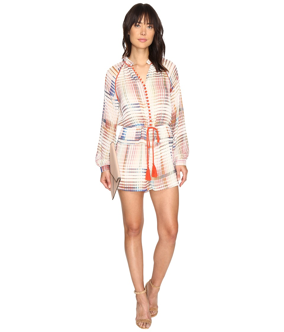 Adelyn Rae - Printed Long Sleeve Romper (Ivory/Light Pink) Women's Jumpsuit & Rompers One Piece