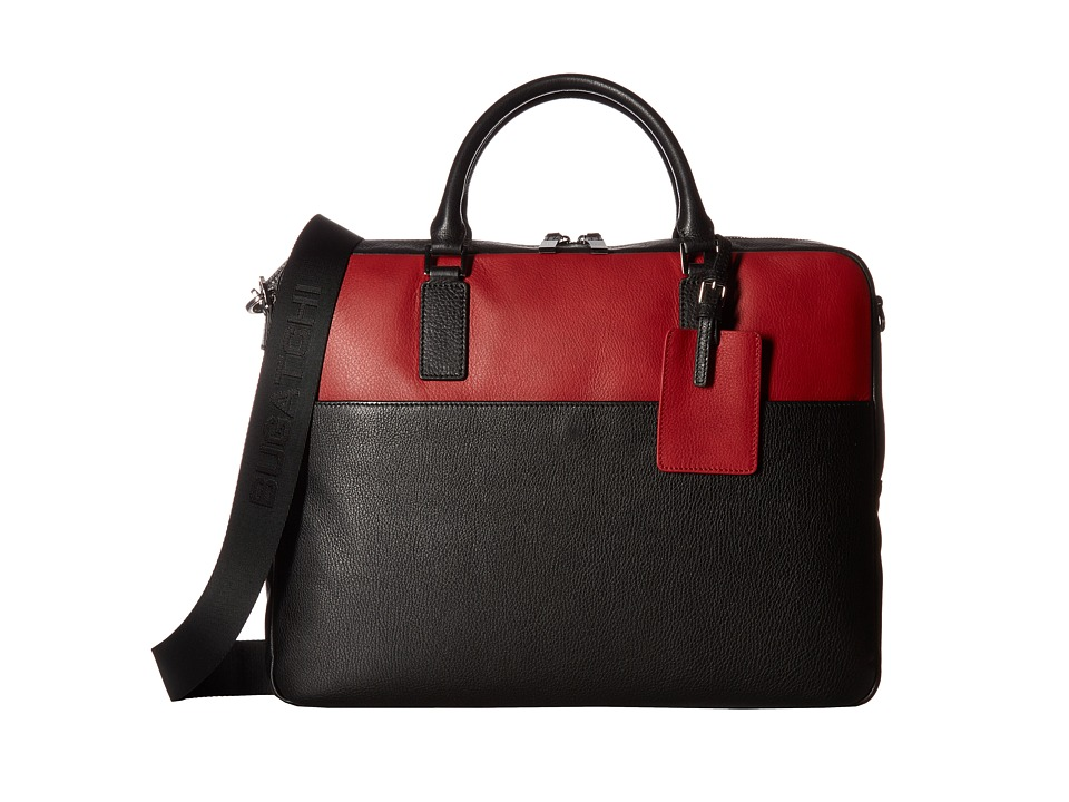 BUGATCHI - Pebble Leather Full Grain Two-Tone Brief Case (Black) Briefcase Bags
