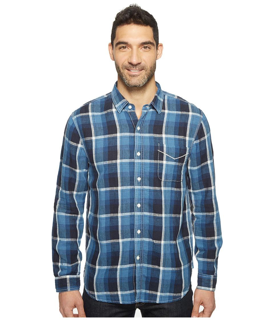 True Grit - Genuine Linen Long Sleeve One-Pocket Shirt Big Plaids (Indigo) Men's Clothing